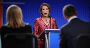 CLEVELAND, OH - AUGUST 06:  Republican presidential candidate Carly Fiorina participates in a presidential pre-debate forum hosted by FOX News and Facebook at the Quicken Loans Arena August 6, 2015 in Cleveland, Ohio. Fiorina and six other GOP candidates were selected to participate in the forum based on their rank in an average of the five most recent national political polls.  (Photo by Chip Somodevilla/Getty Images)
